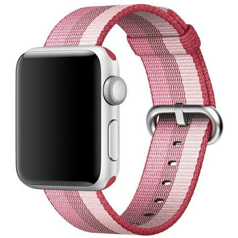 Curea iUni compatibila cu Apple Watch 1/2/3/4/5/6, 38mm, Nylon, Woven Strap, Berry